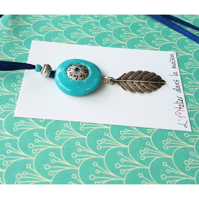 sautoir rond feuille turquoise
