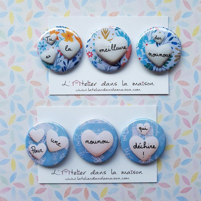 "Lot de 3 magnets ""La meilleure des nounous"""