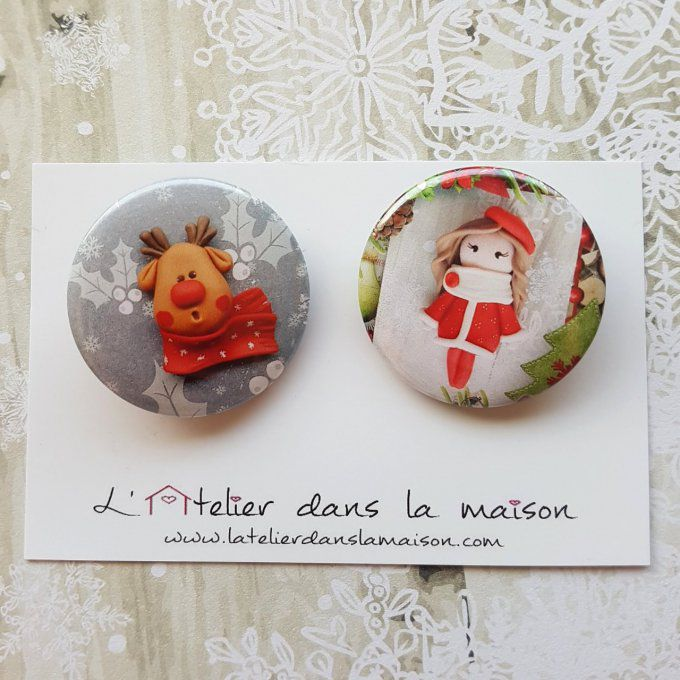 badge de noel renne ou julie
