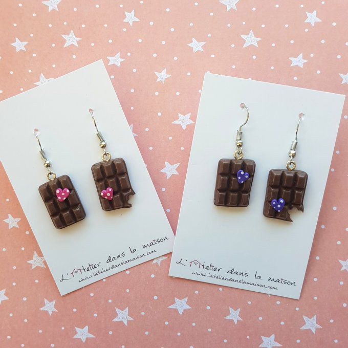 Boucles d'oreilles tablette de chocolat rose ou violet