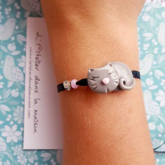 Bracelet enfant chat rose ou mauve - Copie