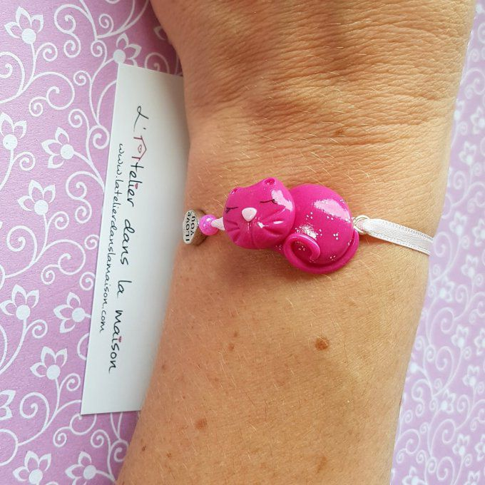 bracelet chat rose fille