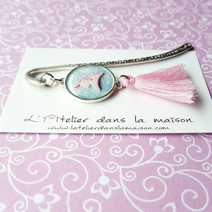 marque-page licorne rose